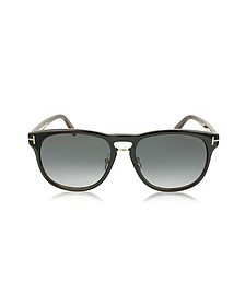 FRANKLIN FT0346 01V Dark Brown Aviator Sunglasses - Tom Ford
