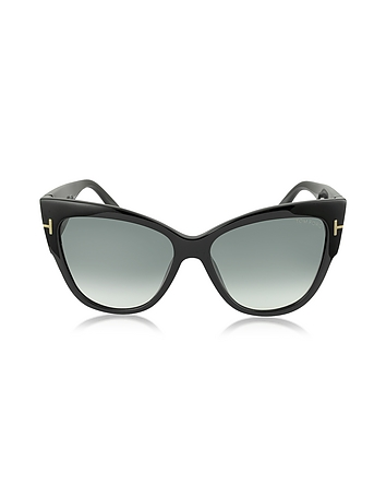 Tom Ford - ANOUSHKA FT0371 01B Black Cat Eye Sunglasses