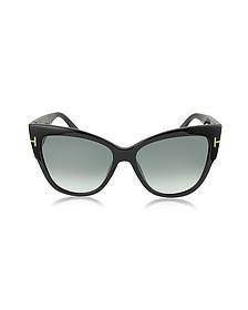 ANOUSHKA FT0371 01B Black Cat Eye Sunglasses - Tom Ford