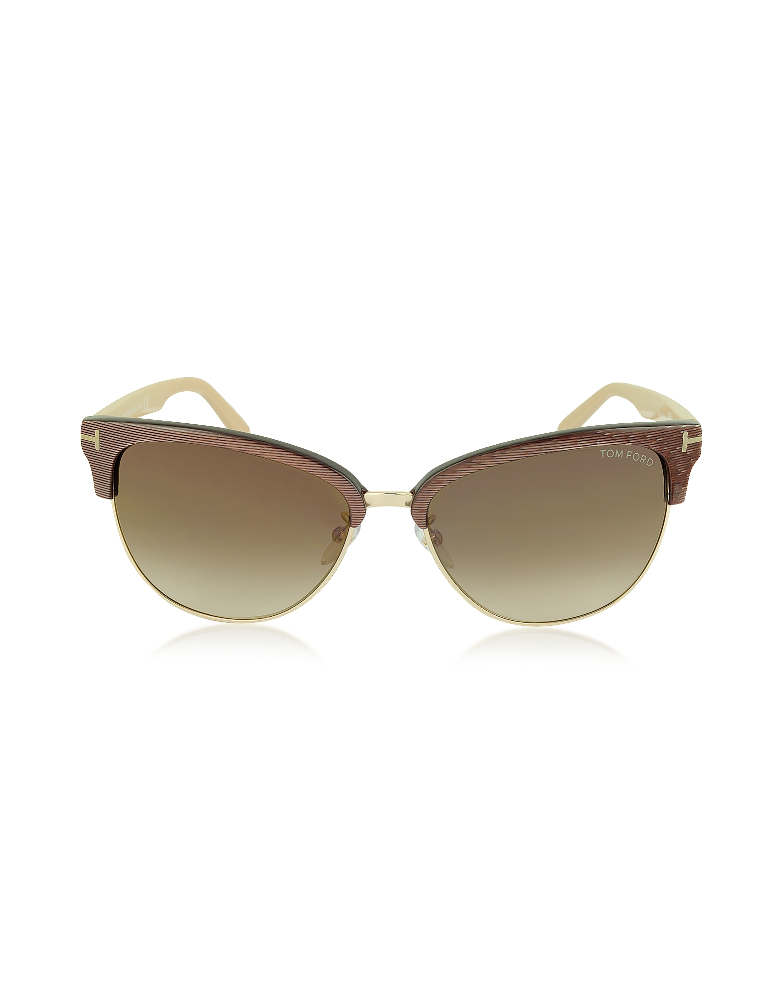 Tom Ford Sunglasses, FANY FT0368 50G Brown Acetate and Gold Metal Cat Eye Sunglasses