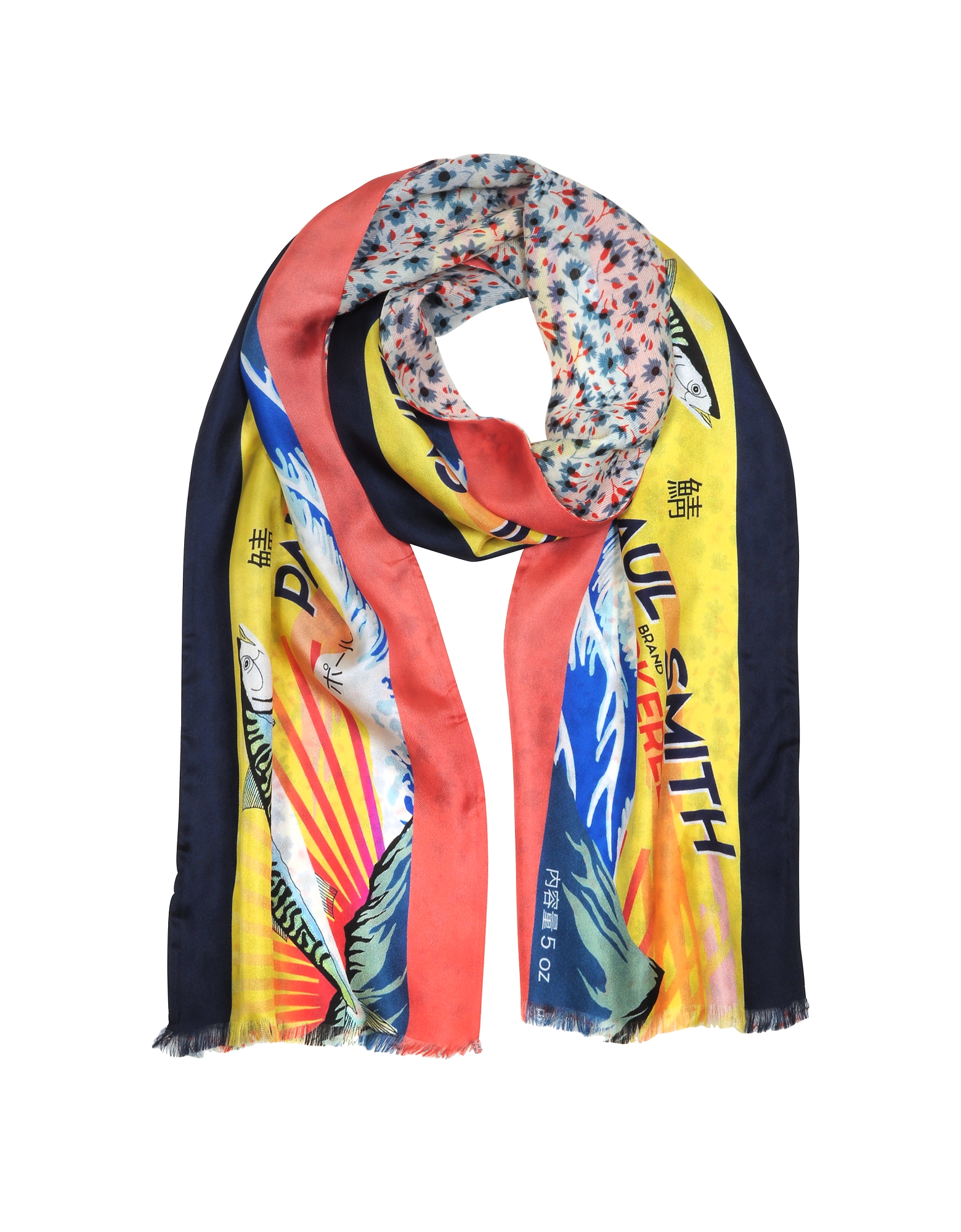 Yellow Mackerel Print Silk Blend Reversible Men's Tubular Scarf