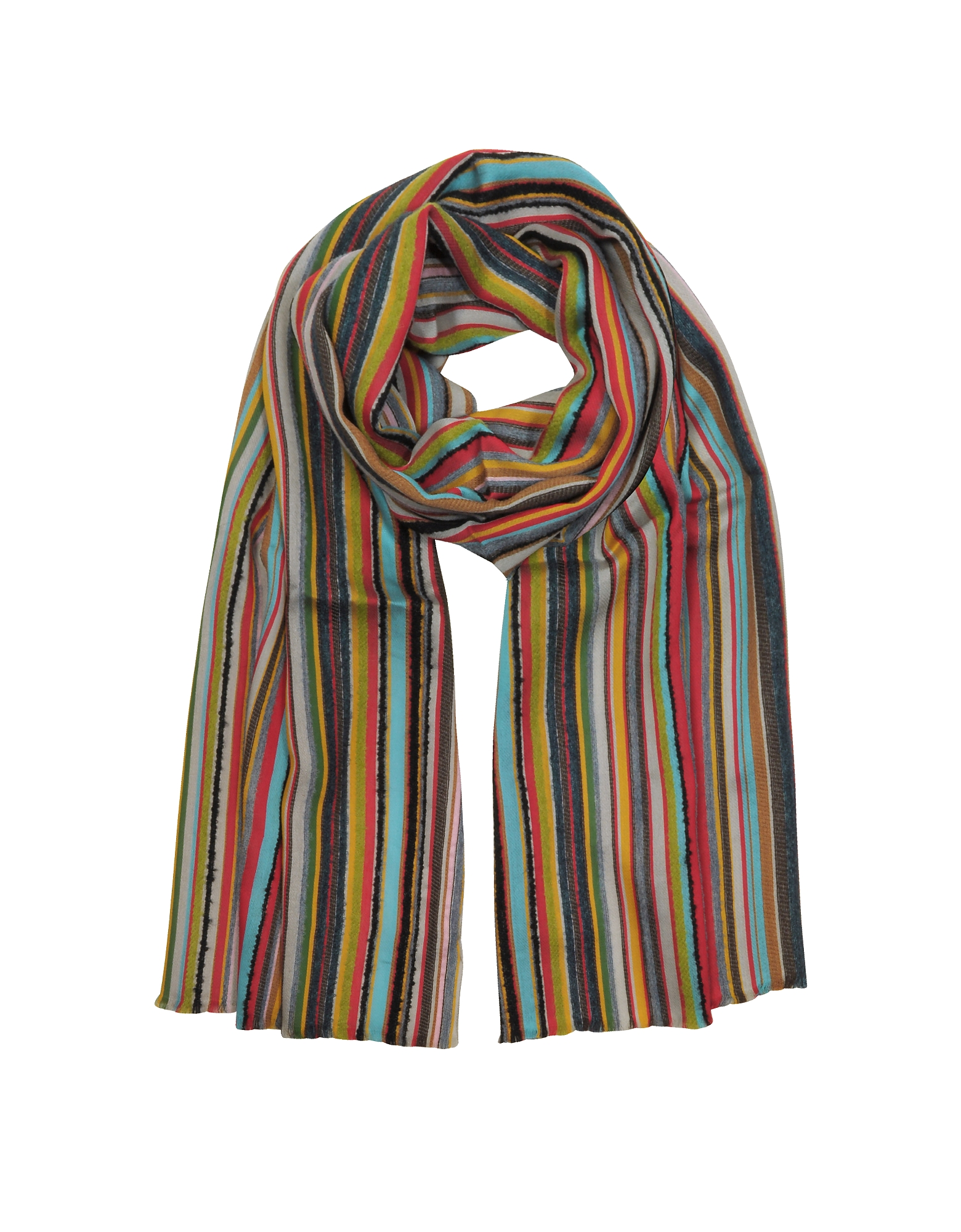 Wool Blend Stripe Men's Long Scarf