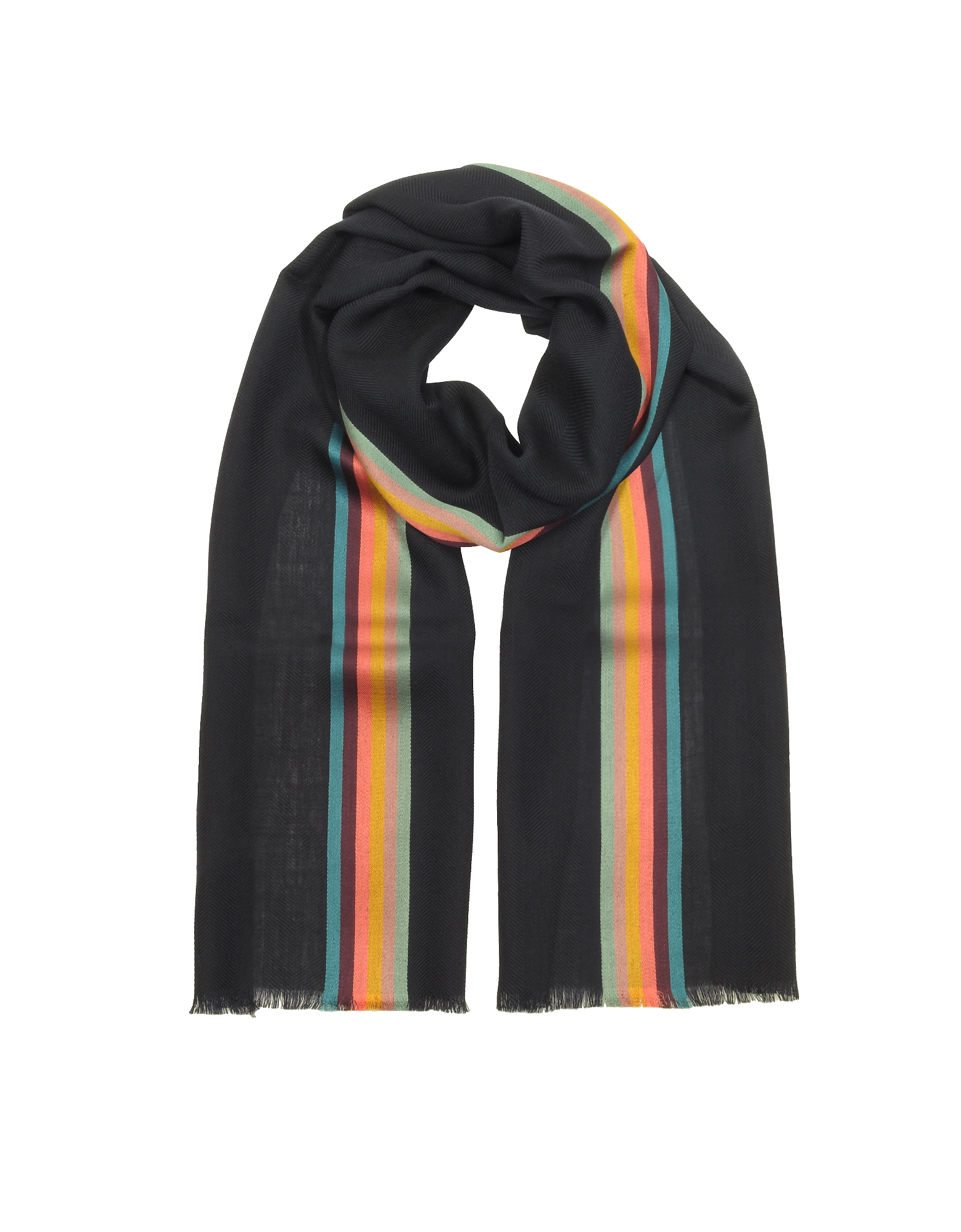 Navy Blue Artist Stripe Band Herringbone Wool-Blend Men's Scarf