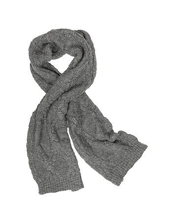 Men's Cable Knit Wool Blend Scarf