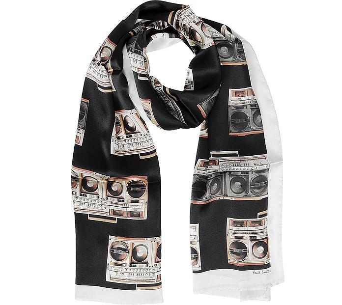 Black Silk Boom Box Print Silk Men's Scarf - Paul Smith