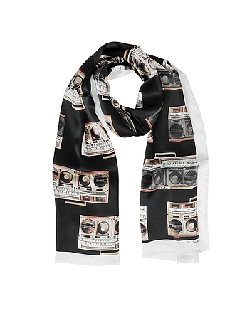 Black Silk Boom Box Print Silk Men's Scarf