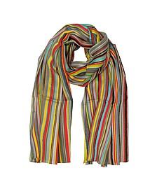 Signature Stripe Textured Wool-Silk Men's Scarf - Paul Smith
