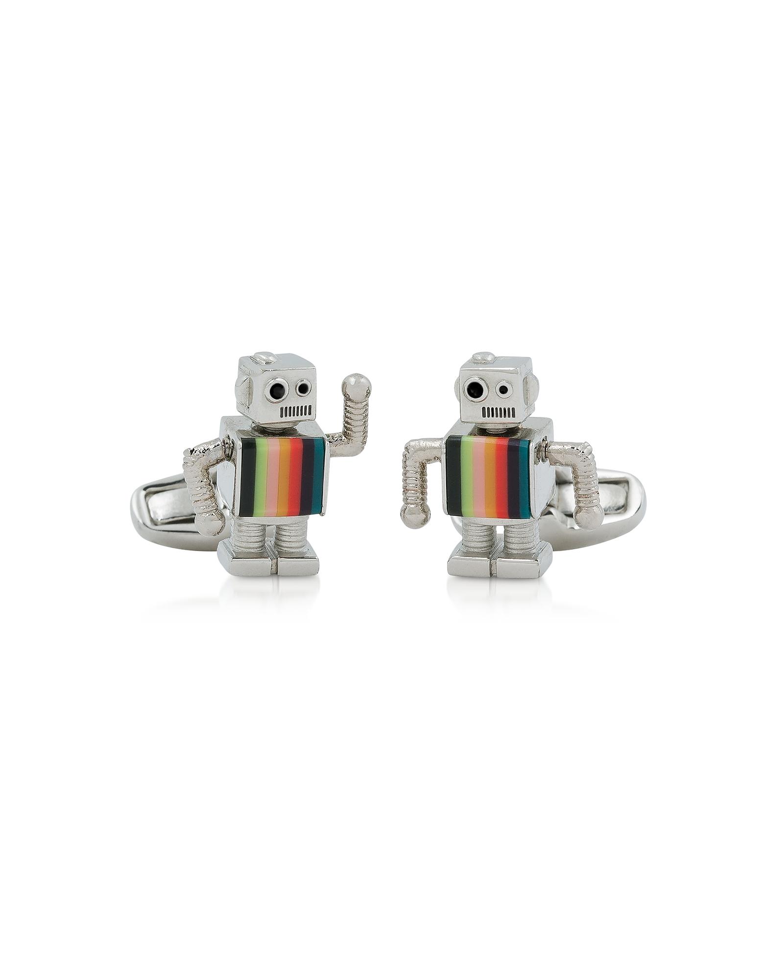Robot Striped Metal Cufflinks