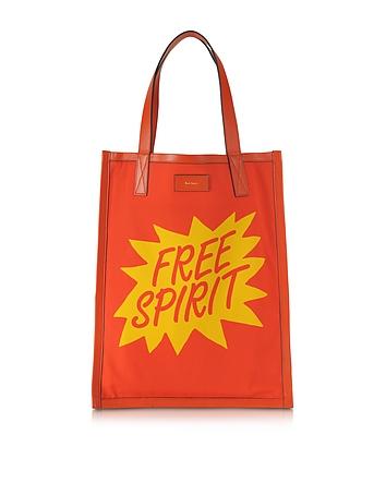 Men's Orange and Yellow Free Spirit Print Tote Bag