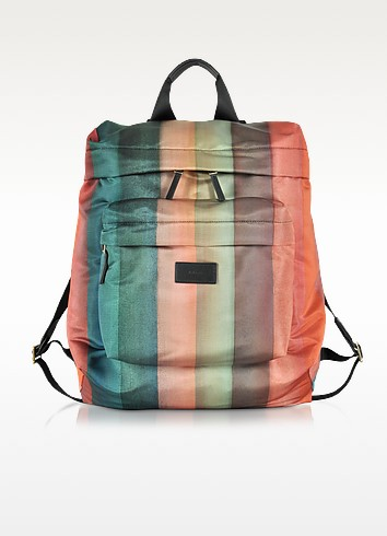 Men's Painted Rainbow Stripe Print Backpack - Paul Smith