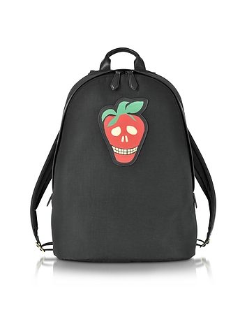Paul Smith - Men's Black Canvas Backpack w/Strawberry Skull Leather Patch