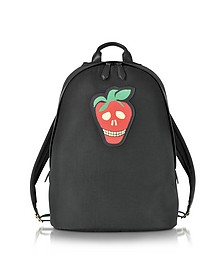 Men's Black Canvas Backpack w/Strawberry Skull Leather Patch - Paul Smith