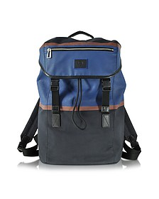 Color Block Cotton w/Leather Trim Men's Backpack - Paul Smith