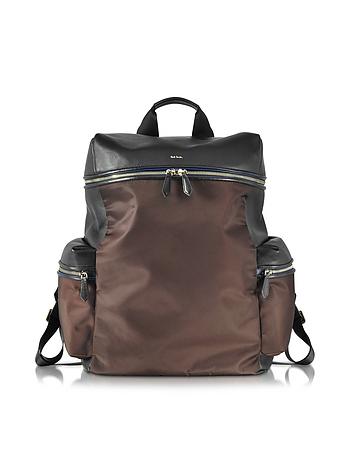 Paul Smith - Black Nappa and Brown Nylon Men's Rucksack w/Side Pockets