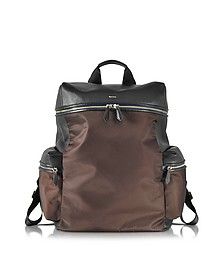 Black Nappa and Brown Nylon Men's Rucksack w/Side Pockets - Paul Smith