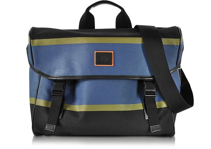 Color Block Cotton w/Leather Trim Men's Messenger Bag - Paul Smith