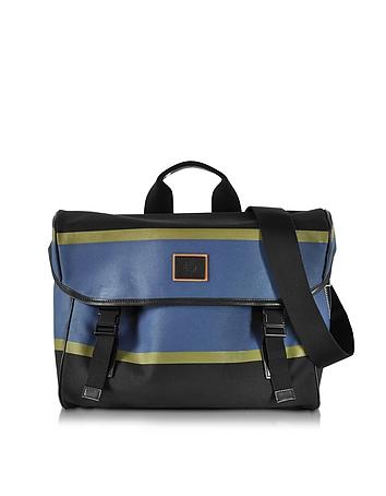 Paul Smith - Color Block Cotton w/Leather Trim Men's Messenger Bag