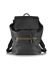 Black Hammered Leather Men's Backpack - Paul Smith