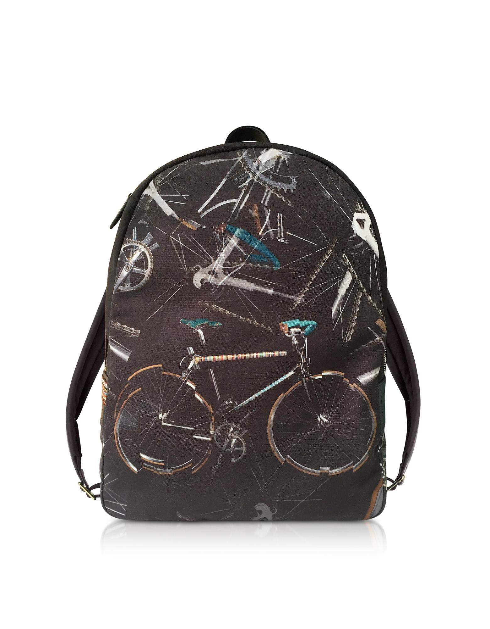 Черный Рюкзак из Ткани с Принтом Велосипедов