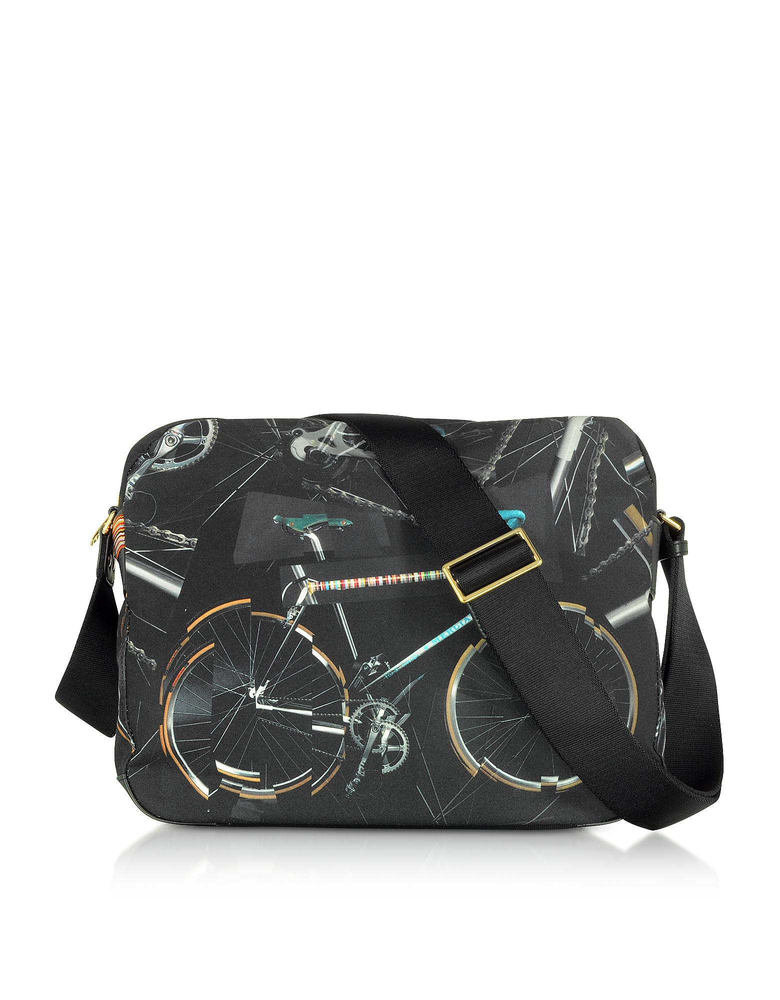 Black Canvas Bike Print Messenger Bag