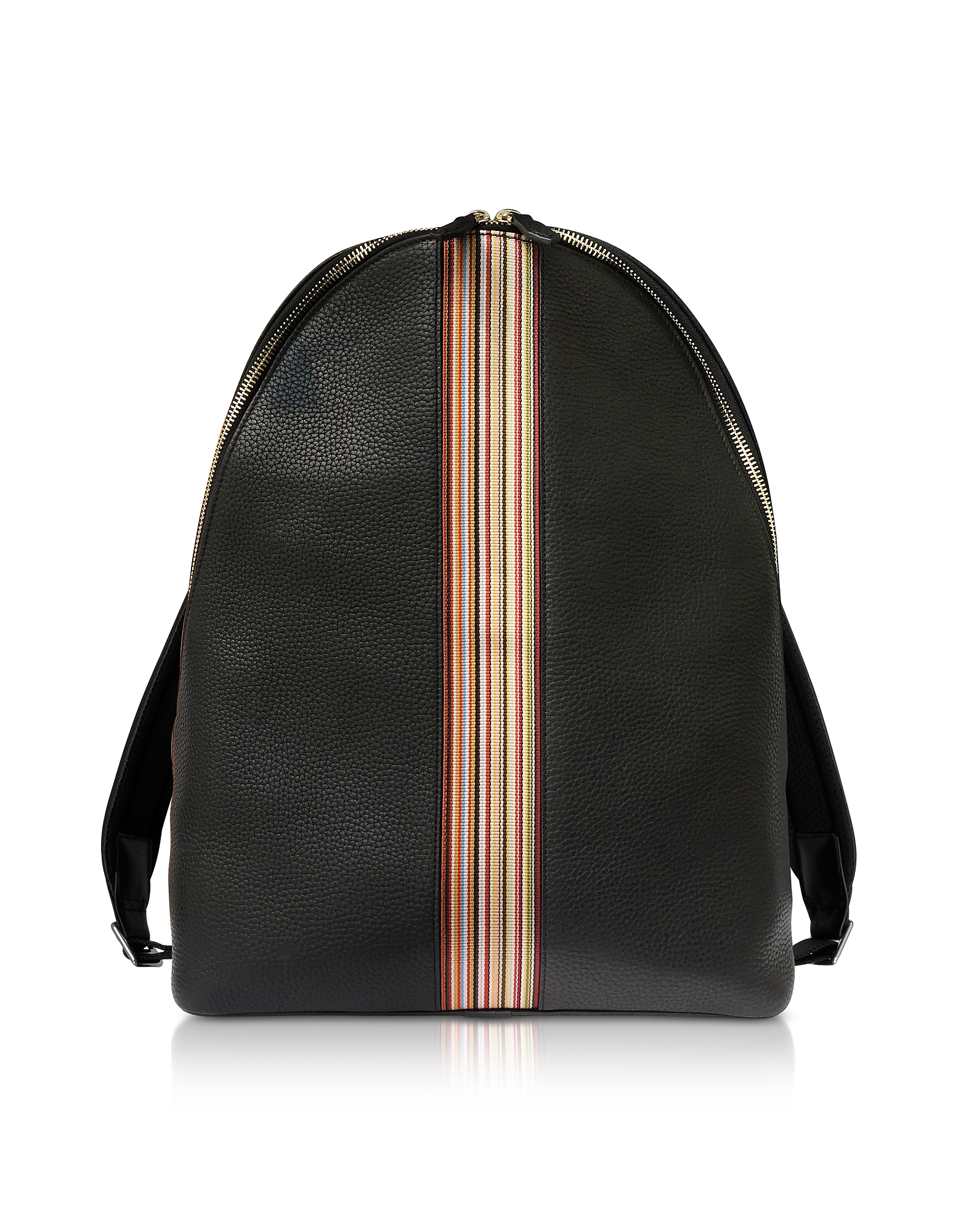 Paul Smith Backpacks, Black Leather New Stripe Print Backpack