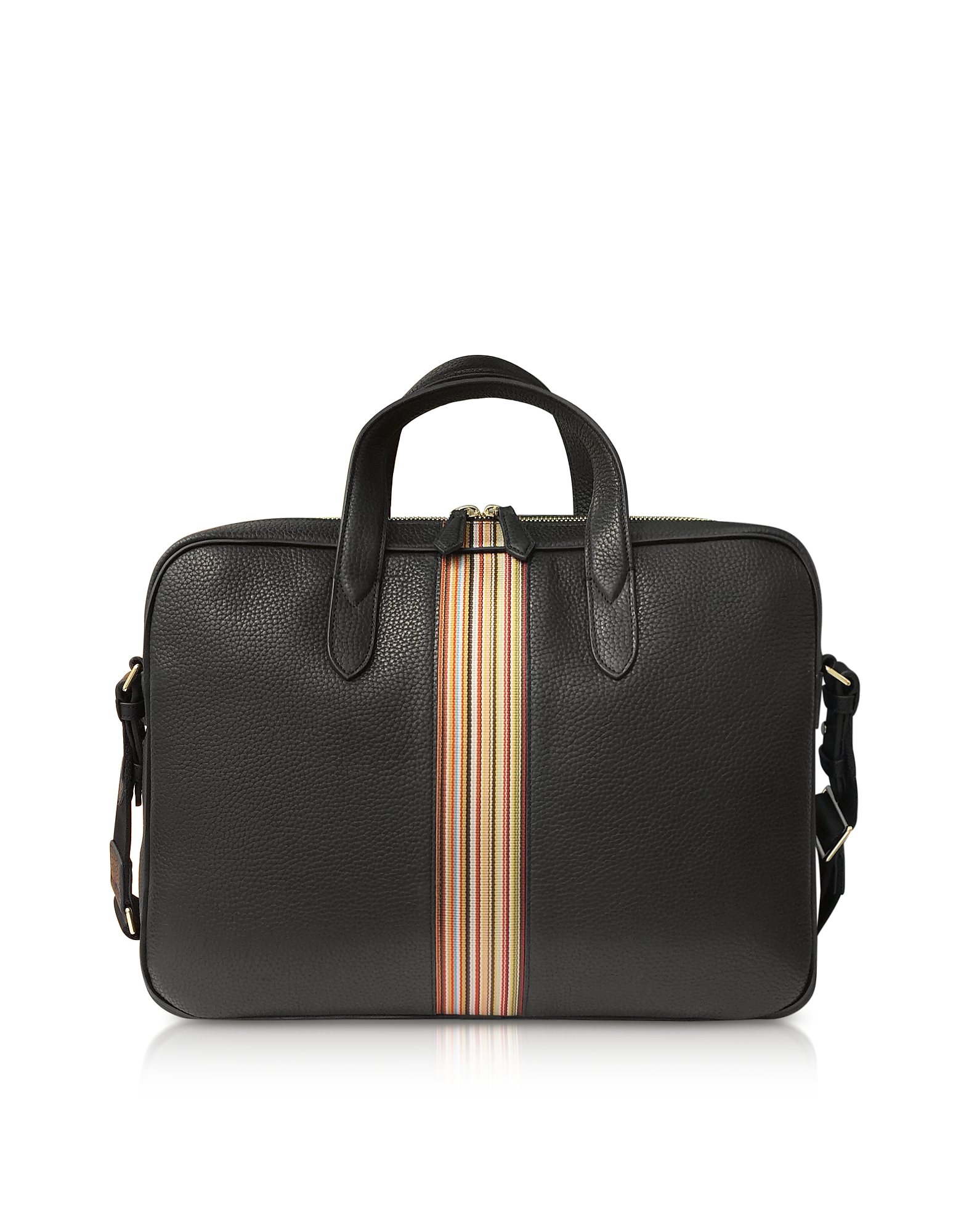 Paul Smith Briefcases, Black Leather New Stripe Print Portfolio/Men's Bag