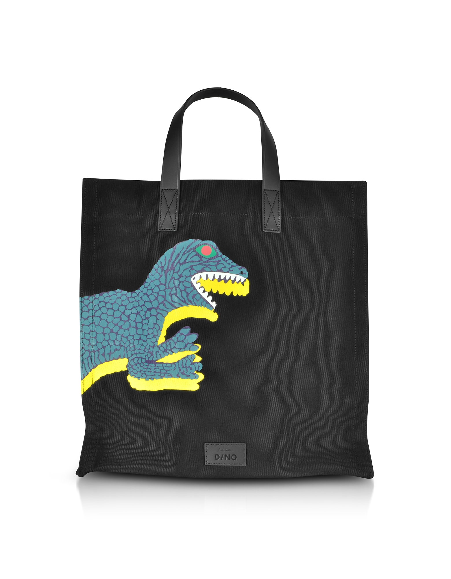 Black Dino Printed Canvas Tote Bag with Leather Handles