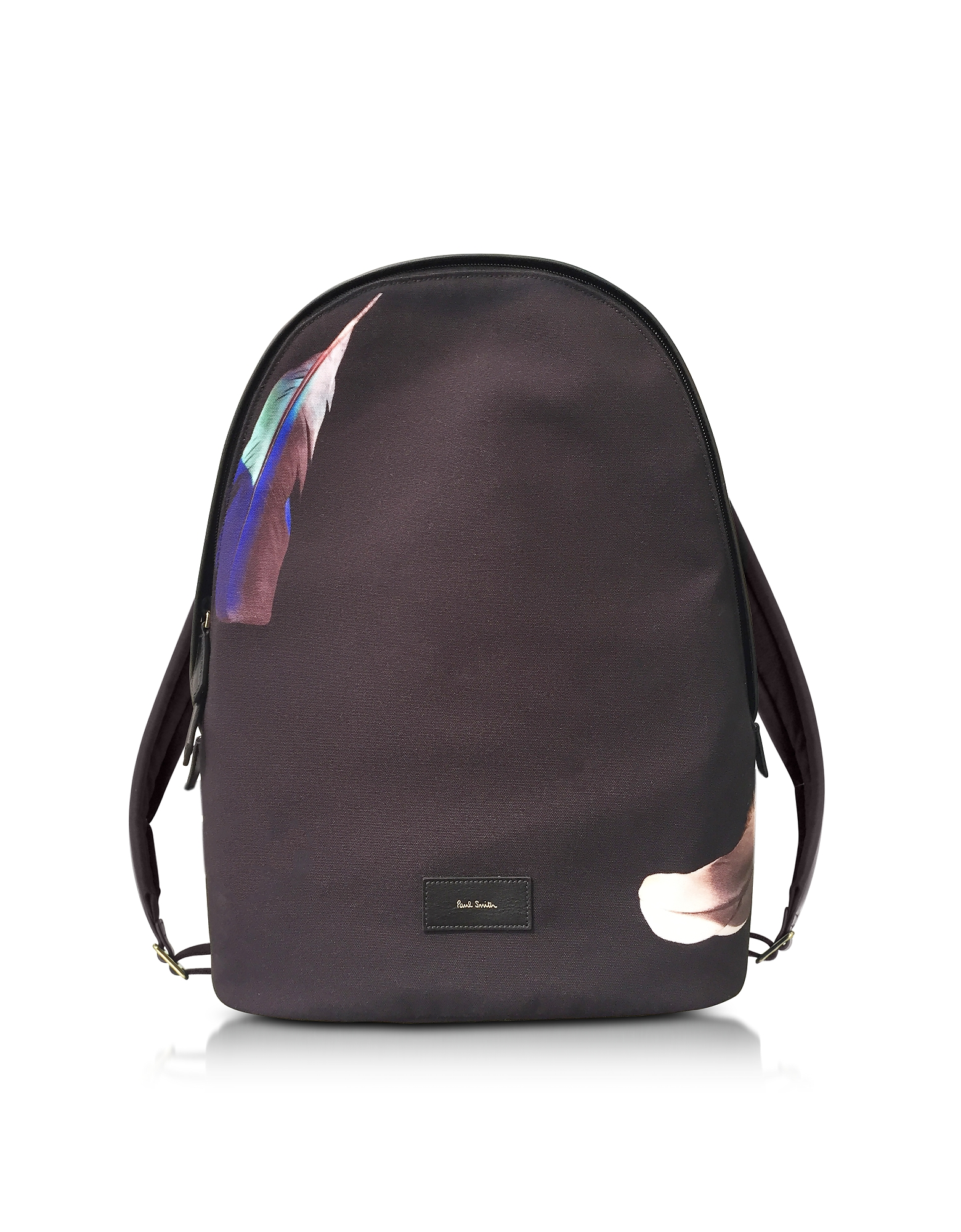 Paul Smith Backpacks, Black Canvas Feather Print Backpack