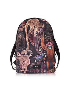 Black Canvas Monkey Print Backpack - Paul Smith