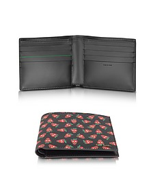 Men's Black Leather Strawberry Skull Print Billfold Wallet - Paul Smith