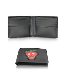 Men's Black Leather Billfold Wallet w/Strawberry Skull Print - Paul Smith
