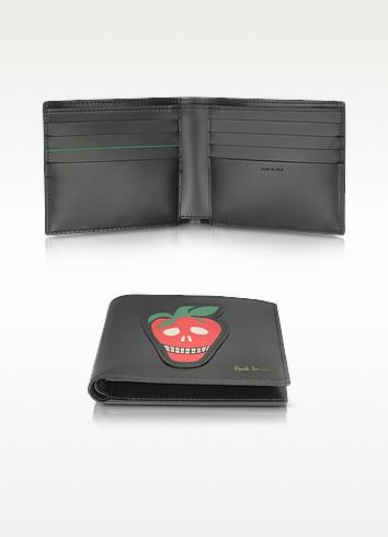 Men's Black Leather Billfold Wallet w/Strawberry Skull Print - Paul Smith