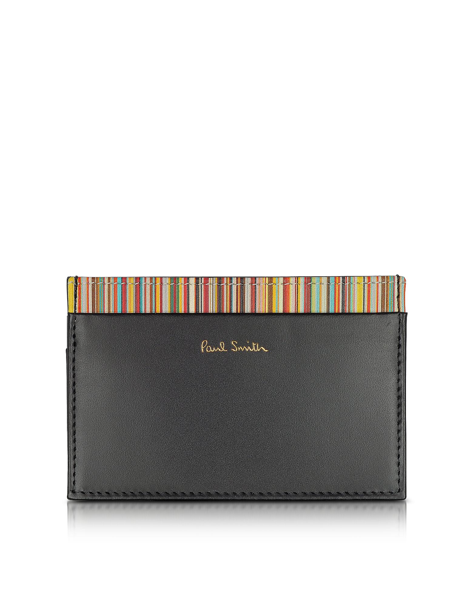 Черный Мужской Кожаный Бумажник для Карт с Фирменными Полосками Внутри