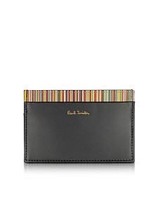 Black Leather Signature Stripe Interior Men's Card Holder - Paul Smith