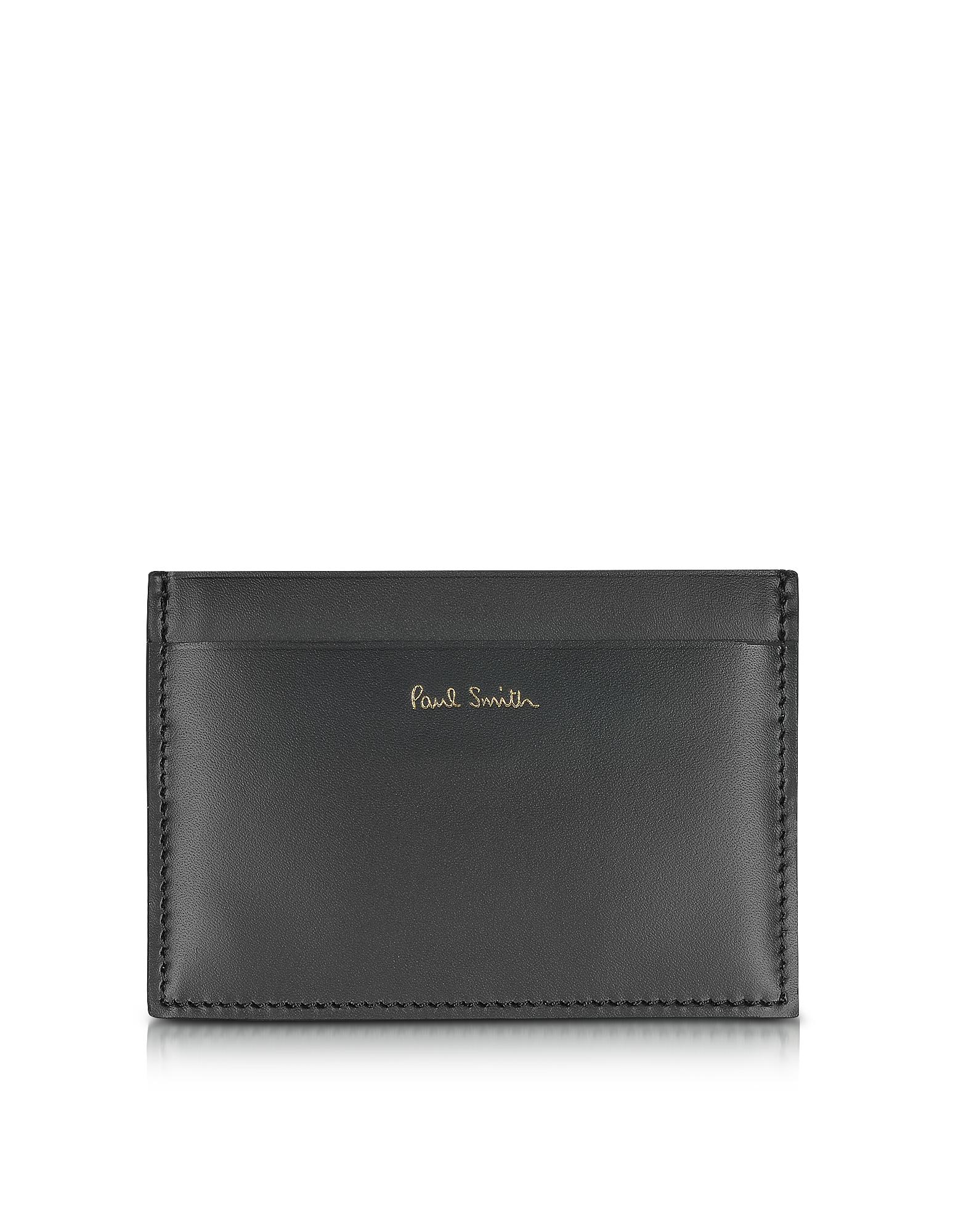 Черный Мужской Кожаный Бумажник для Карт с Принтом Карандашей