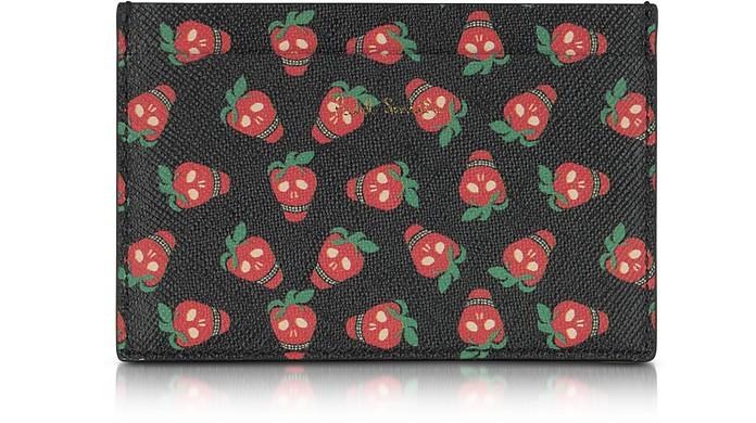 Black Leather Strawberry Skull Print Men's Card Holder - Paul Smith