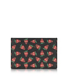 Black Leather Strawberry Skull Print Men's Card Holder - Paul Smith