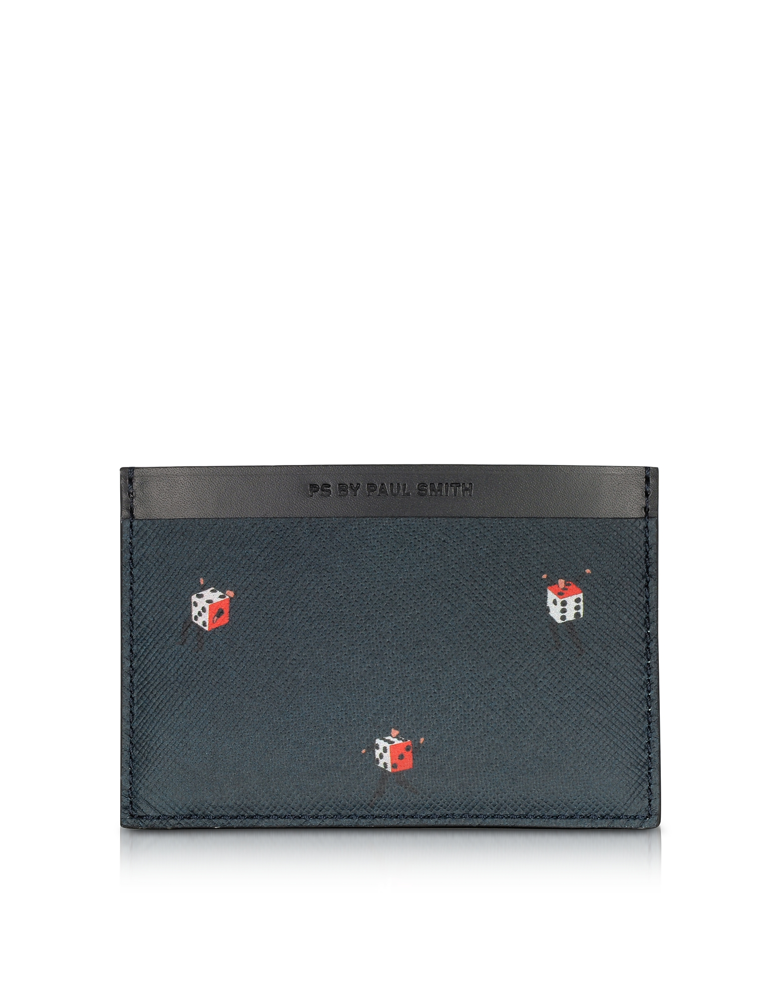 Paul Smith Черный Мужской Кожаный Бумажник для Кредитных Карт с Принтом Игральных Костей