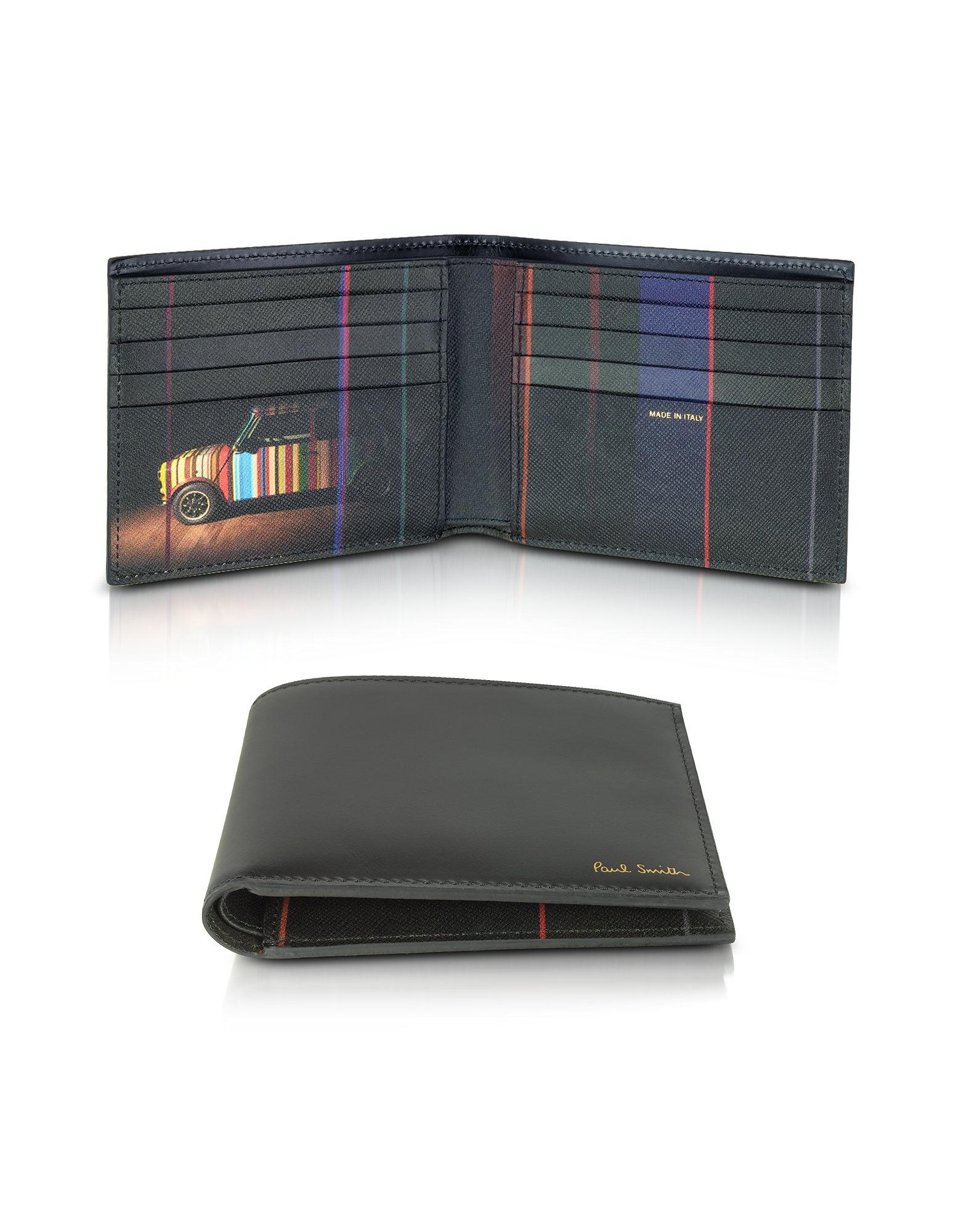 Paul Smith Wallets, Black Leather Mini Print Interior Billfold Men's Wallet