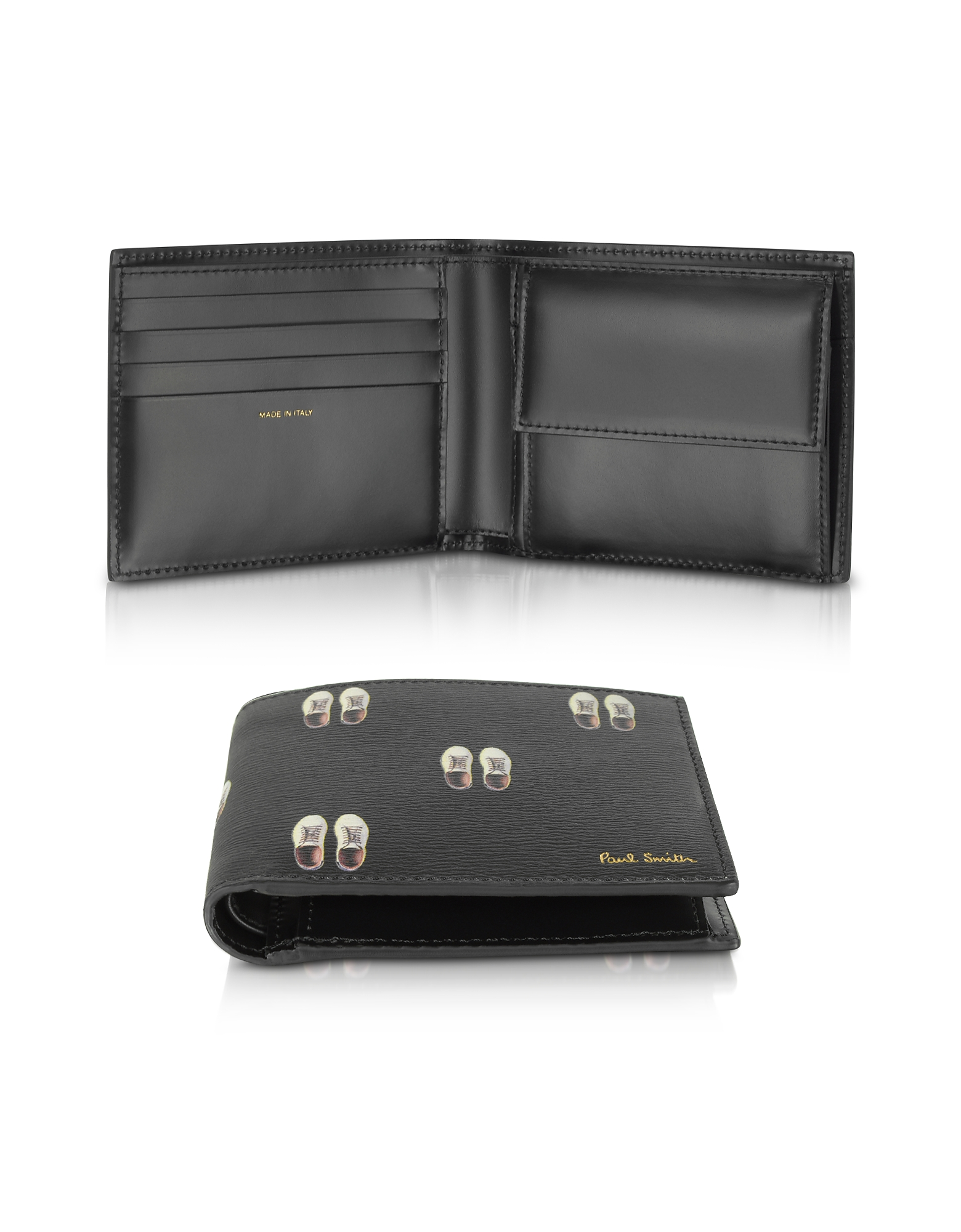 Paul Smith Wallets, Black Leather Basso Print Men's Billfold Wallet