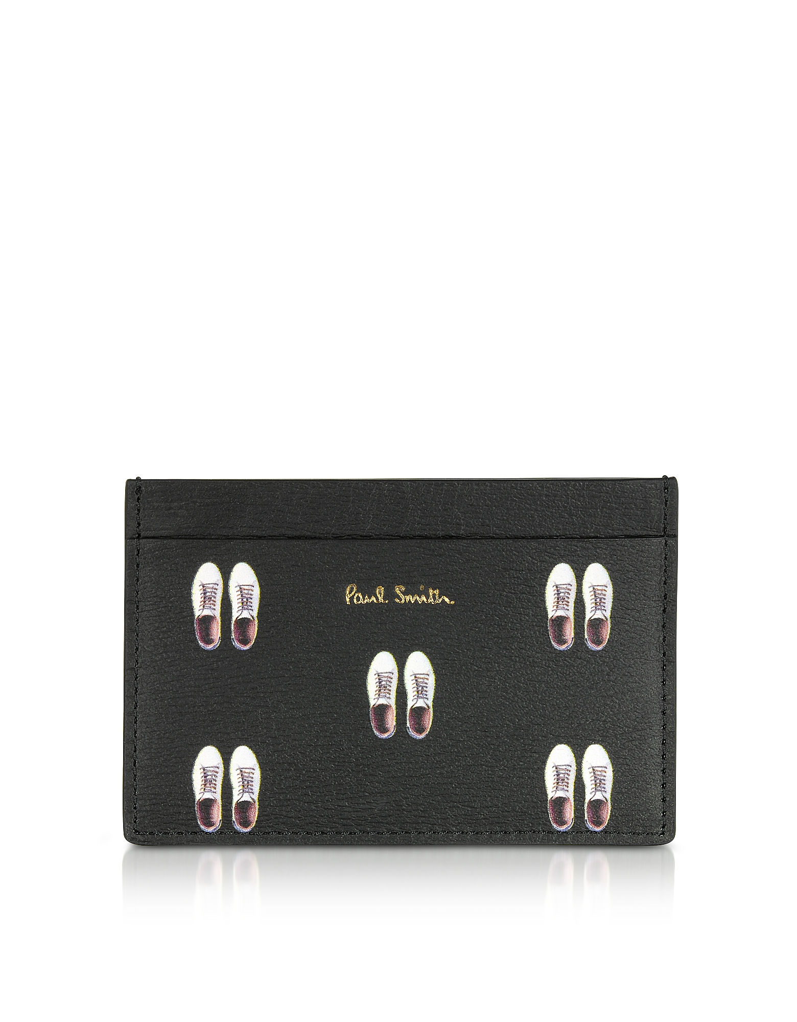 Paul Smith Wallets, Black Leather Basso Print Men's Credit Card Holder
