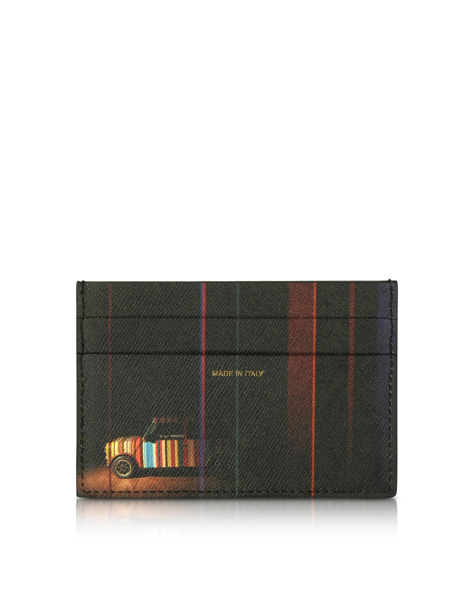 Черный Бумажник для Кредитных Карт из Сафьяновой Кожи с Принтом Мини