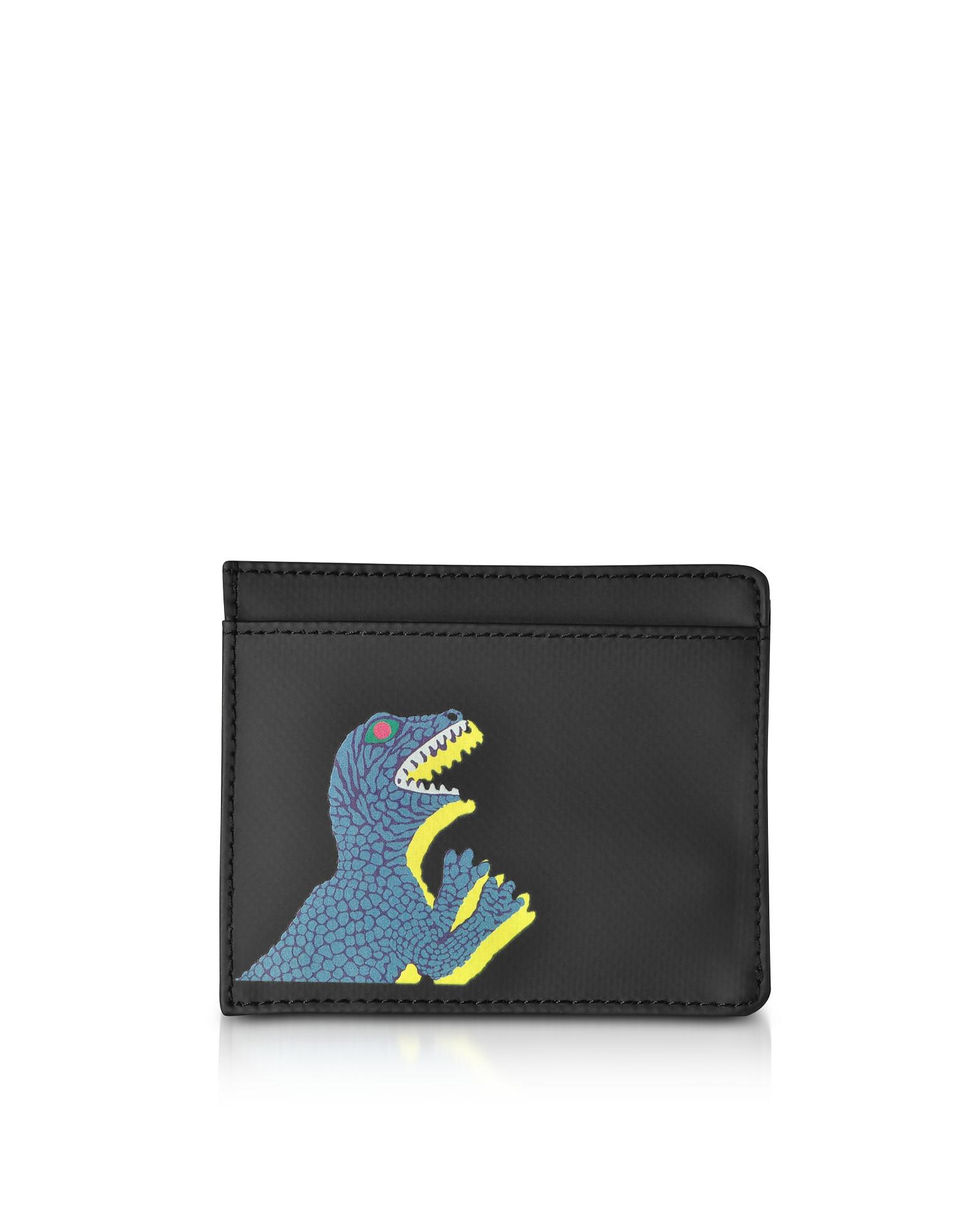 Porta Carte di Credito Nero in Nylon e Pelle Stampa Dino