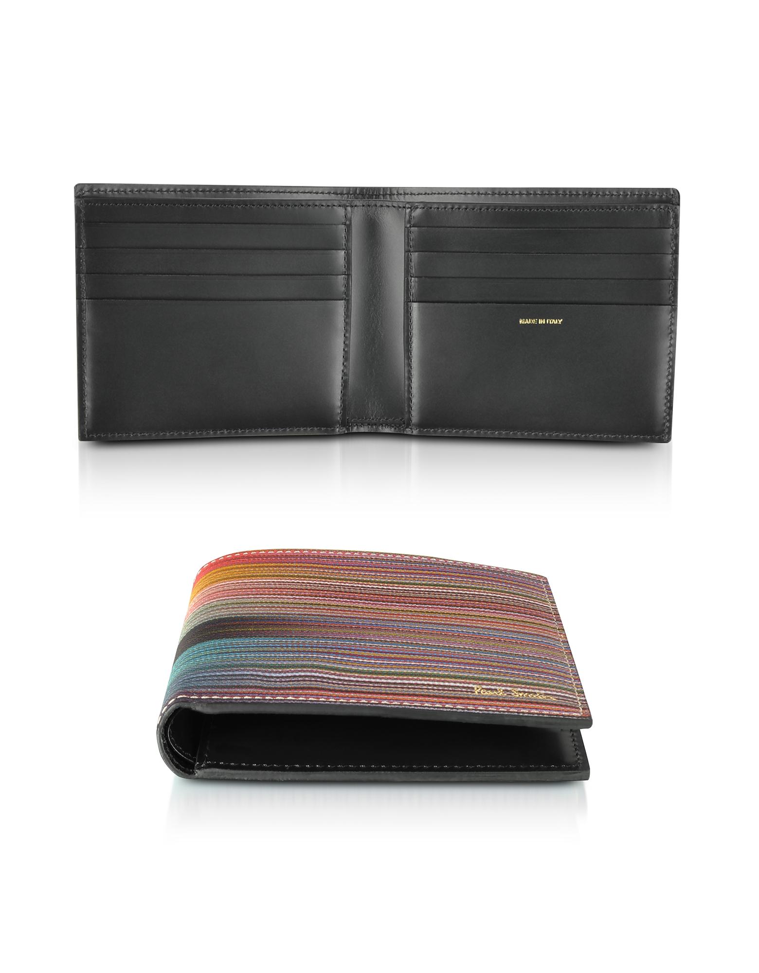 Paul Smith Wallets, Leather Mixed Stripe Men's Billfold Wallet