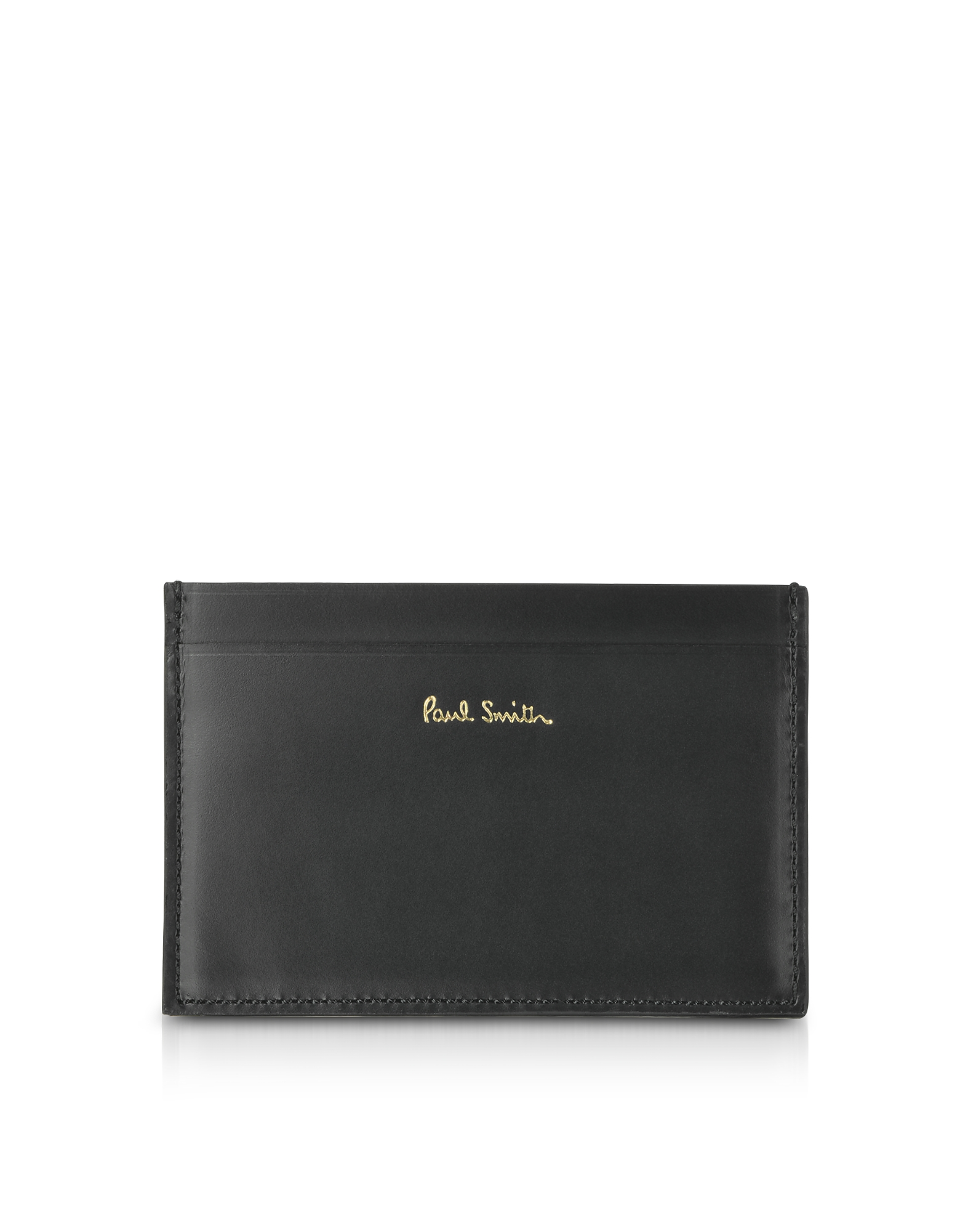 Black Mini Print Leather Men's Credit Card Holder