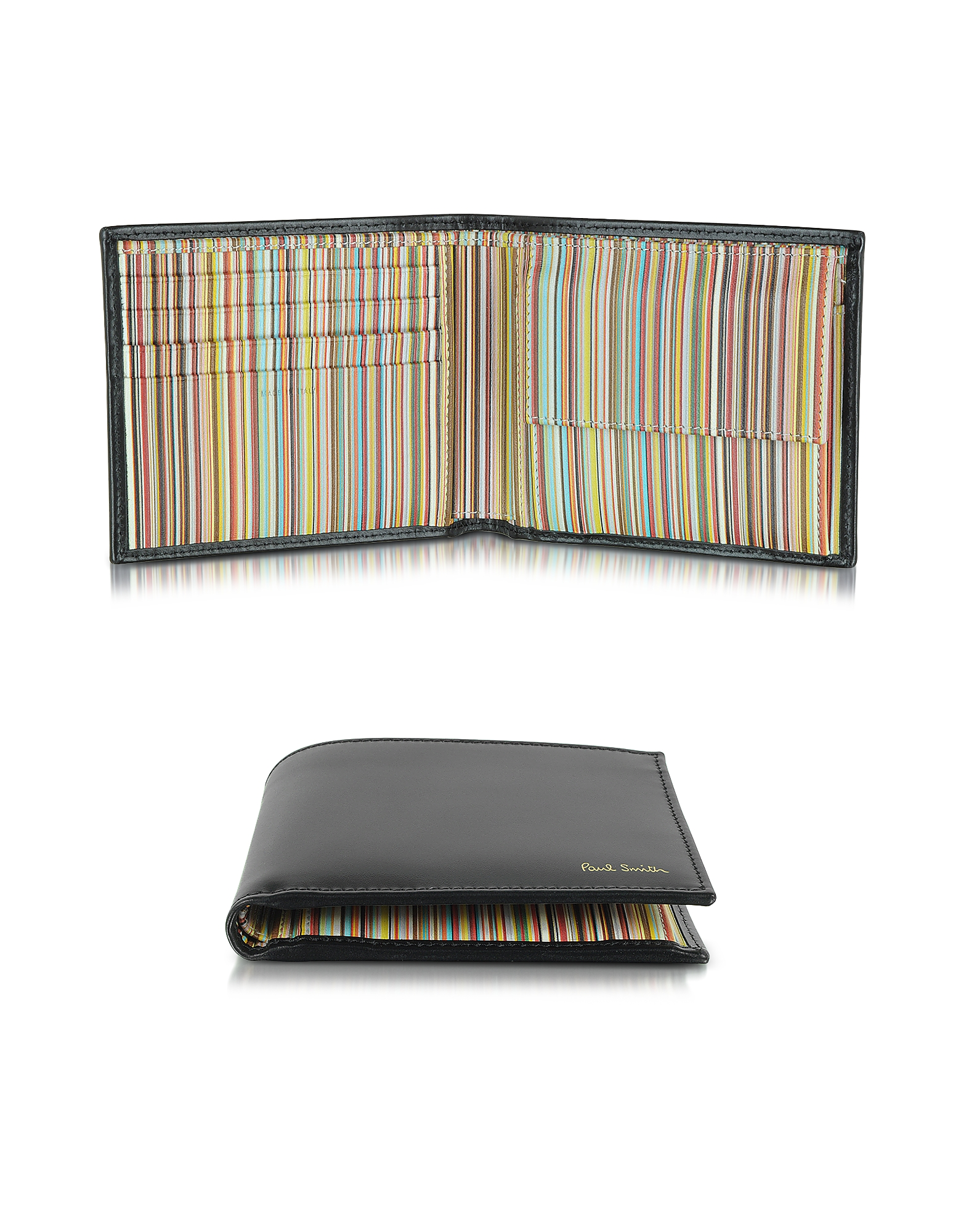 Paul Smith Wallets, Men's Black Leather and Signature Stripe Interior Billfold and Coin Wallet