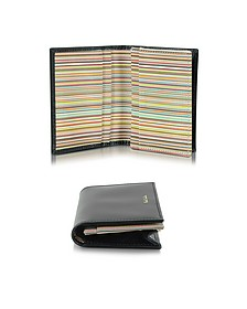 Men's Black Leather and Signature Stripe Interior Fold Over Card Wallet - Paul Smith