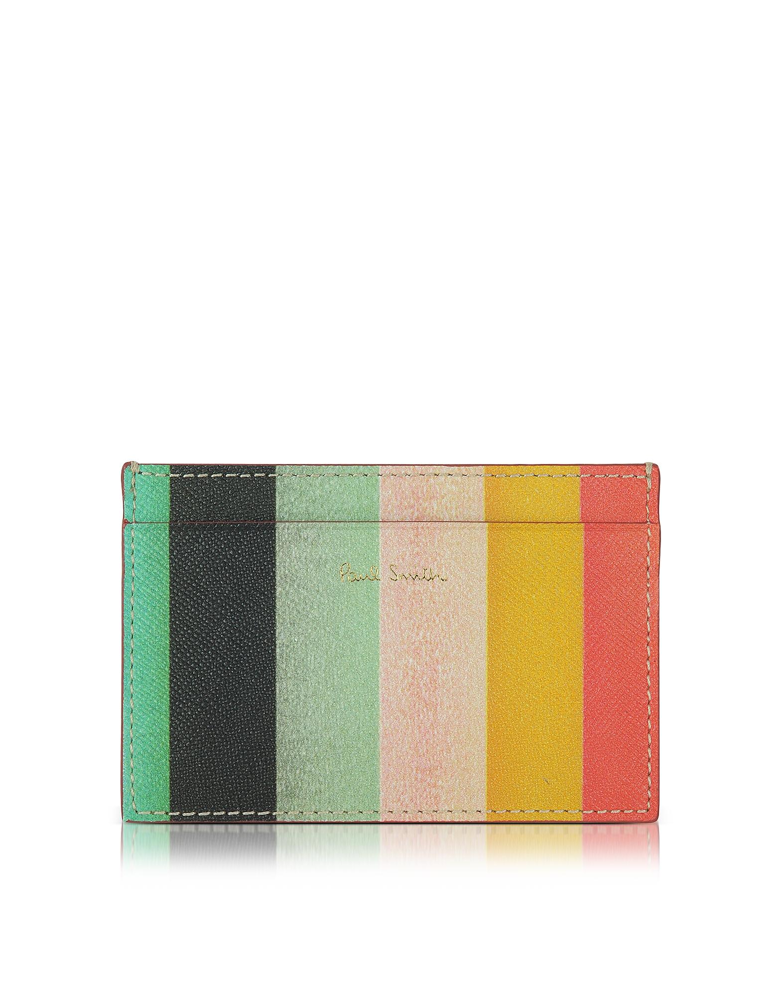 Paul Smith Мужской Кожаный Бумажник для Кредитных Карт с Принтом Полосок