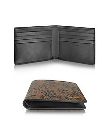 Men's Brown Leather Logan Floral Print Billfold Wallet - Paul Smith