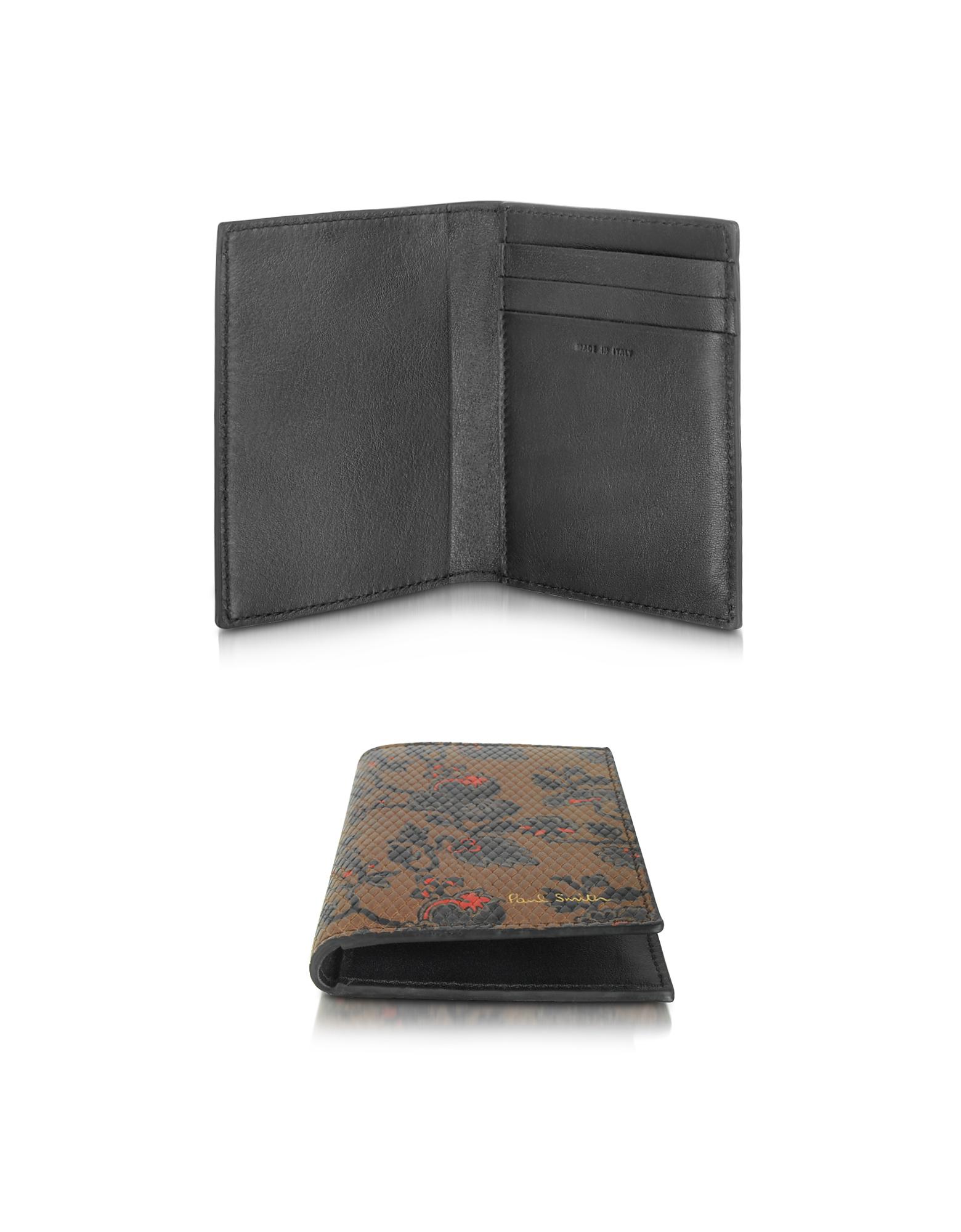 Paul Smith Logan - Мужской Коричневый Кожаный Бумажник для Кредитных Карт с Цветочным Принтом